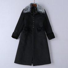 2018 largo invierno abrigos Cuello de piel desmontable mujeres Breasted de lana  y mezclas abrigo femenino 63d5578361f8