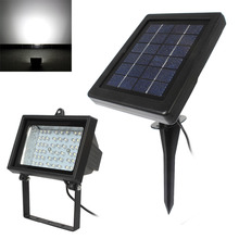2.2W 54 Ultra White LED Flood Light Lamp Outdoor Garden Street Landscape Lawn Floodlight Lamp + Rechargeable Solar Power Panel(China)