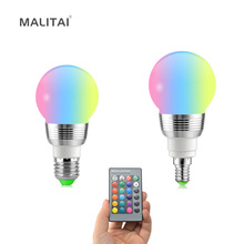 Colorful Changeable 7W RGB LED Bulb lamp E27 E14 AC 85V-265V 110V 127V 220V LED Spotlight For Decor Romantic Home Night light