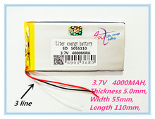 3 line best battery brand Free shipping 5055110 3.7V 4000mah lithium polymer battery 4000mah large-capacity PDA tablet PC MID