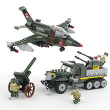 223pcs Military Armored Car Block Toy for Boys Air-ground Battle Figures Bricks Truck Children Enlighten Toy Aircraft K0359-1710