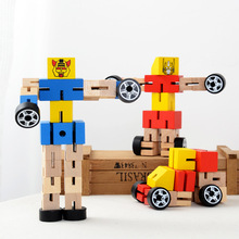 Cool Wooden Cars Transformation Robot Early Education Action Figure Toys For Children Birthday Gift AY893025(China)