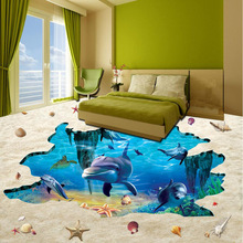 3D Photo Wallpaper HD Sea World Dolphin Design For Living Room Bedroom Floor Waterproof PVC Wallpaper(China)
