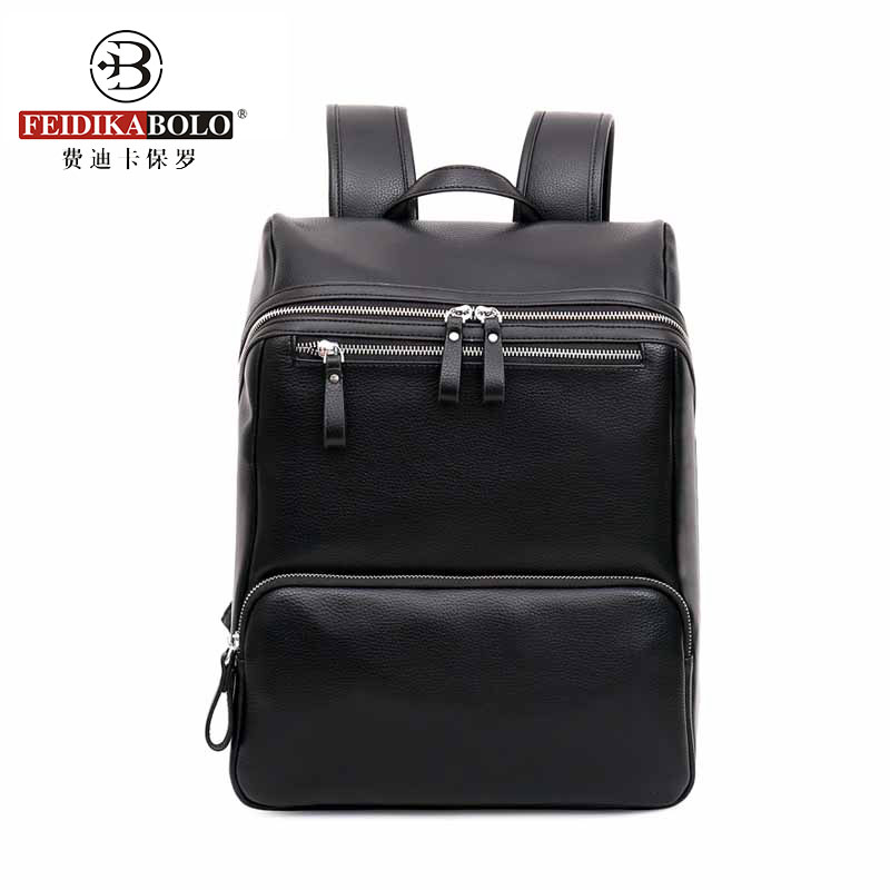 2017 Mens Leather Backpack For College Preppy Style School Black Waterproof Bookbag Sac A Dos Homme Mochila De Couro Masculina<br><br>Aliexpress