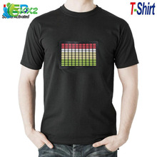 Sale Sound Activated LED T Shirt Light Up Flashing Equalizer EL LED T-Shirt Men for Rock Disco Party DJ