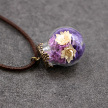 Ocean Handmade Wish Crystal Glass Ball Dried Flowers Necklace Eternal Flower Long Leather Chain Necklaces Women Time Gem Jewelry