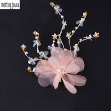 wedding party bridal romantic pink silk yarn voile flower with beads hair pin bride headband hair accessories hair jewelry(China)
