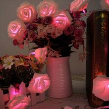 20 Led Romantic Rose Flower String Light Valentine's day Gift Decoration Wedding Party  Bedroom Decor Pink
