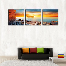 3 Picture Artistic Art Modern Photo Giclee Yellow Sea Sunrise Waves Pictures Prints on Canvas for Home Decoration Wooden Framed(China)
