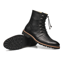 EGE Brand Men Boots Genuine Leather British Style Fur Warm Winter men boots,Leisure pointed toe business male shoes with castles and zip(China)