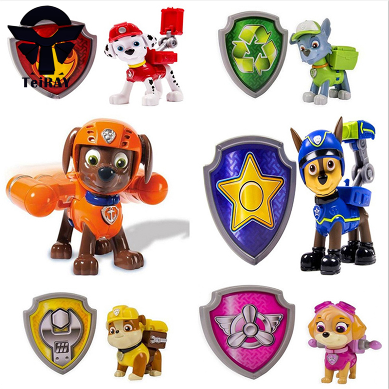 La Patrulla Canina Puppy Patrol Dog With Shield Weapon Can Catapult Juguetes 7Cm Patrulha Canina Figures Kids Toys for Children(China (Mainland))