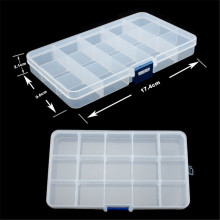 15 Grid Plastic Adjustable Transparent Jewelry Ring Earrings Box Case Portable Organizer Storage Box Travel Bins Free Shipping