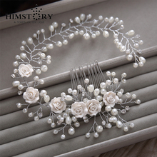 New Handmade Pearl Flower Wedding Long Hair Comb  Bridal Accessories Women Party Prom Jewlery Headpiece Hairwear