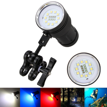 Tactical 12000LM 10X XM-L2+4x Red+4x Blue LED Scuba Diving Photography Light Waterproof Flashlight Torch Diver Lamp