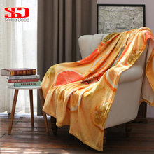 Topical Fruits Flannel Throw Blankets on Sofa Orange and Pineapple Super Soft Warm White Fur Covers Plush Bedspreads Kid Quilts(China)