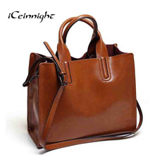 iCeinnight fashion women bag High quality oil pu leather shoulder bag female vintage luxury brand big tote with long belt black