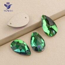 Yanruo #3230 все размеры Изумрудный Drop Flatback Стразовая пришить Алмазный кристалл горного хрусталя аппликации для Свадебные платья(China)