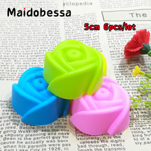 6Pcs/Set 5cm Silicone Mould Rose Moule Fimo Flower Fondant Tools Cake Tools Silicone Chocolate Molds Rose Silicone Molds Soap(China)