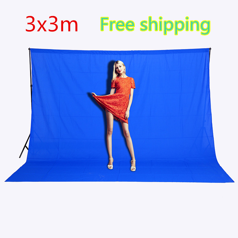 CY Free shipping 3mx3m Photography background Blue Photo Lighting Studio screen cotton Muslin photo Backgrounds image backdrop<br>