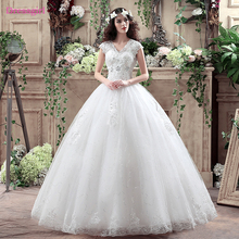 Buy Boho Vestido De Noiva 2018 Wedding Dresses Ball Gown Cap Sleeves Tulle Lace Crystals Sequins Cheap Wedding Gown Bridal Dresses for $108.29 in AliExpress store