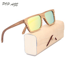 Orange Sunglasses Mirrored Zebra Wood Sunglasses Name Brand Men Sun Glasses 2016 Oculos De Sol Mens Glasses Frame Sunglass(China)