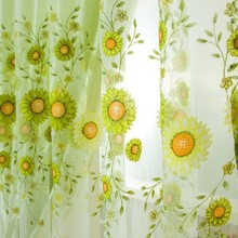 Fashion Window Curtain Flower Print Divider Tulle Voile Drape Panel Sheer Scarf Valances(China)