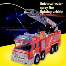 1X Electric Fire Truck Toy For Kid Extending Ladder Flashing Lights & Sirens with Water Pump Hose to Shoot Water Bump(China)