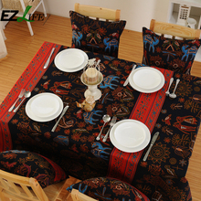 New 2017 Colorful Egypt Style Table Cloth Cotton Blended Elephant Floral Printing Rectangular Table Cloth Tablecloth ZH01594