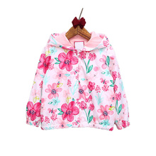 Newest Girls Jackets Floral Printed Girls Outerwear Spring Autumn Children Jackets Hooded Full Length Kids Coats Girls Clothing