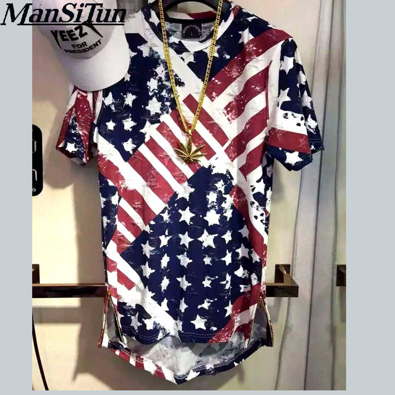 Man si Tun USA American Flag t shirt Men Brand Jersey 2017 New Fashion t -shirt Hip Hop Fitness Short-sleeved Men's Clothing(China)