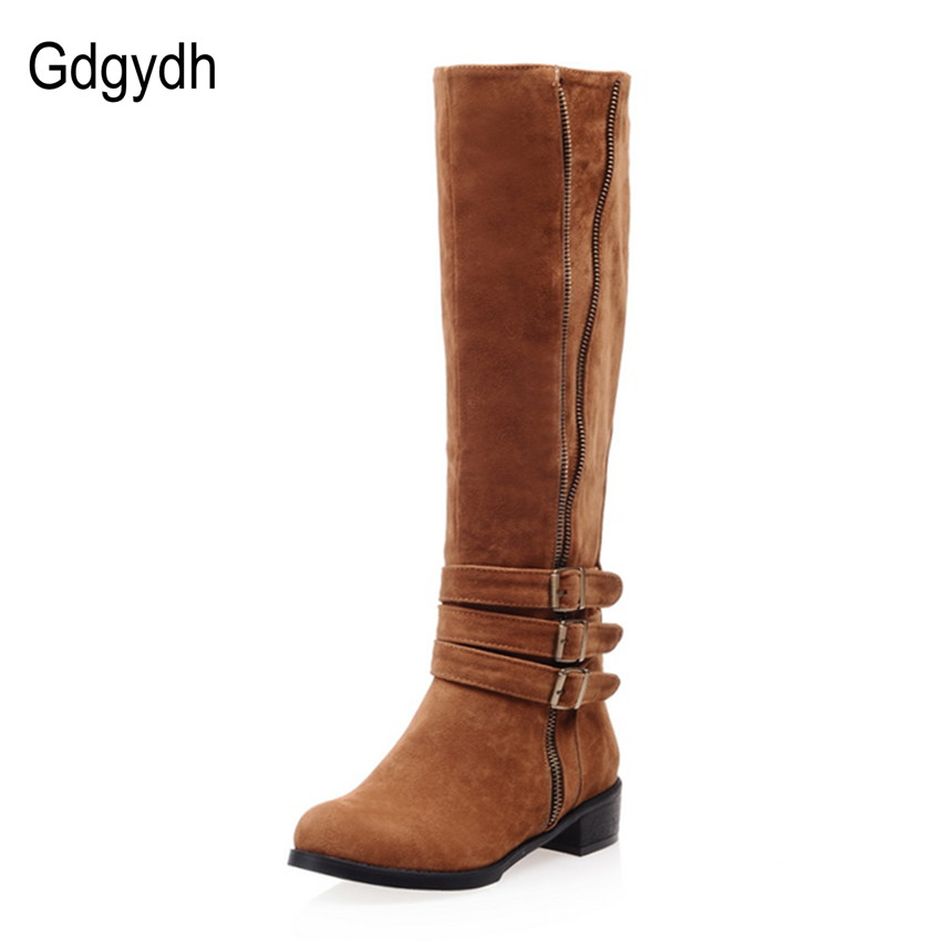 Gdgydh Hot Sale Fashion Brown Knee High Boots Women For Winter Square Heels Round Toe Knight Boots Flats Plush Shoes Big Size 43<br><br>Aliexpress
