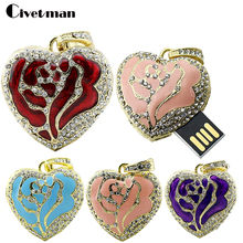 Crystal Heart Shaped Necklace USB Flash Drive 8GB 16GB 32GB 64GB 128GB Rose Heart Gift Pen Drive Mini Disk On Key(China)