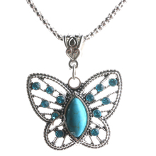 Fashion Butterfly Pendant Necklaces Drop Earrings Vintage Rhinestone Crystal Jewelry For Women Wedding Jewelry Sets Shellhard(China)