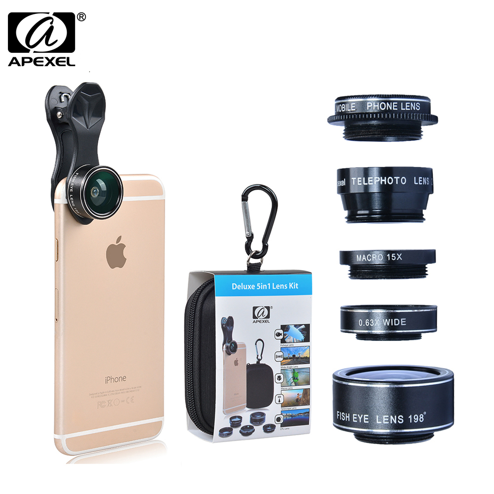 APEXEL 5 in 1 HD Camera Lens Kit for iPhone 6/6s 6/6s Plus SE Samsung Galaxy S7/S7 Edge S6/S6 Edge and Other Android Smart Phone