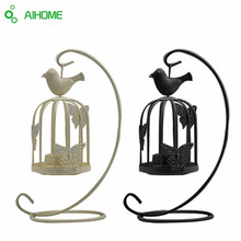 Vintage Decor Candle Holders Candelabro Bird Cages Candlesticks Decorative for Home Decoration(China)