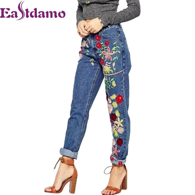 Eastdamo 2017 Blue Floral Embroidery Jeans Woman High Waist Womens Denim Pants Ladies Slim Casual Trousers Femme Plus Size Îäåæäà è àêñåññóàðû<br><br>