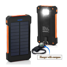 Waterproof Solar Charger 8000mAh Power Bank Solar Battery Charger Dual USB with LED Flashlight Compass for iPhone Samsung LG