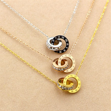 Martick New Arrival 316L Stainless Steel Brand Pendant Necklace Double Loop AAA CZ Roman Numerals Necklace For Young Girl M3(China)