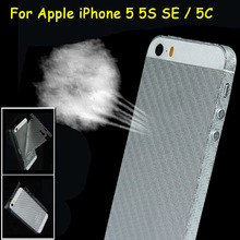 2Pcs 3D Anti-fingerprint Full Cover Clear Carbon Fiber Back Screen Protector Film Wrap Skin Stickers For Apple iPhone 5 5S SE 5C