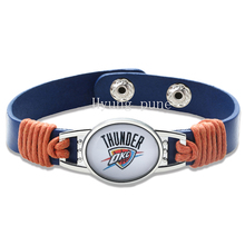 6pcs/lot!Oklahoma City Basketball Genuine Leather Adjustable Bracelet Wristband Cuff 12mm Blue Leather Snap Button Charm Jewelry