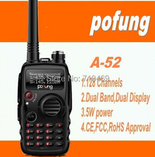 DHL freeshippi+Pofung/baofeng A-52 UV-A52 Dual band 5W power VHF UHF Military Grade Portable radio long range Walkie Talkie 10km