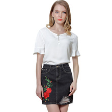 SexeMara Stylish A-Line Denim Skirt 2017 Summer Ladies Retro Floral Embroidery Ripped Mini Jean Skirts Saia Couro Feminina SR508