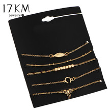 17KM New 5Pcs/Set Alloy For Women Gold Color Set Bracelet Chain Jewelry Pulseras Mujer Love Feminina Bijoux Femme Bohemian