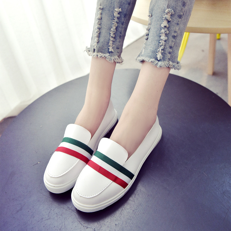 Women Shoes Street Korea Little White Shoes Fashion Women Flats Shoes Round Toe Solid Slip-On Ladies Girls 2017 New Autumn<br><br>Aliexpress