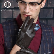 Genuine leather gloves male sheepskin gloves winter fashion thick thermal ST005(China)