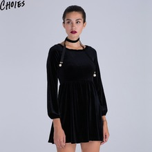 Women Black Velvet Skater Dress With Skinny Scarf Elegant Tied Keyhole Back Mini Clothing 2017 New Fall Sexy A Line Draped Wear(China)
