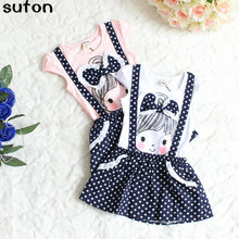 2017 New Arrival Pink/white Baby Girl Dress Cotton Cartoon Dot Bow Short-Sleeved Lovely Princess Dresses Children Clothes