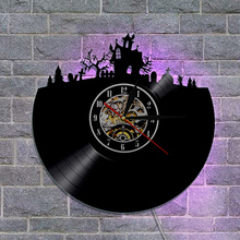 1Piece Halloween Vinyl Wall Clock Haunted House Design With Backlight Room Atmosphere Decor Vinyl LED Night Light Wall Clock(China)