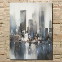 2016 Top Fashion Handmade Paintings Abstract Painting Gray American Buildings On The Canvas Of Sitting Room Is Free Shipping