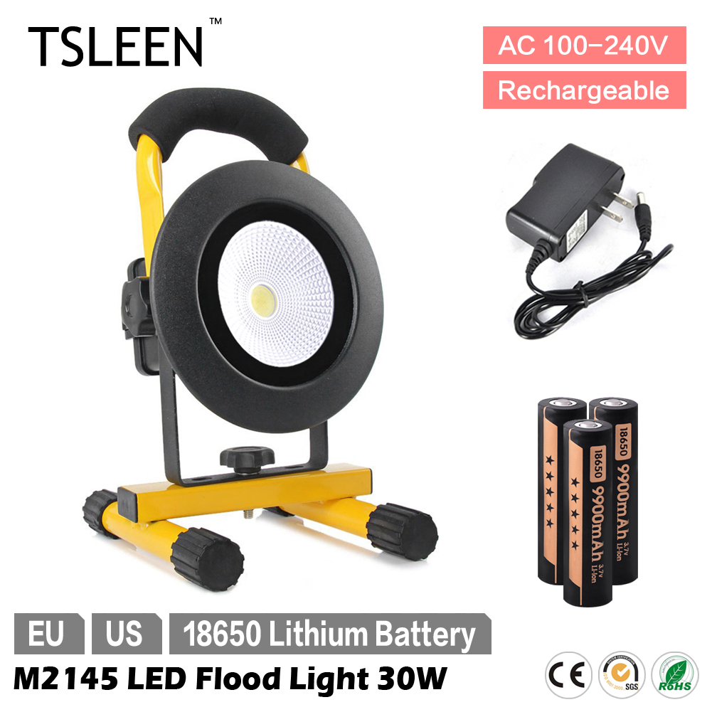 +SOS 2017 Led Outdoor Light TSLEEN 30W IP65 Waterproof LED Flood Light 18650 Cell Spot Lamp Camping Hiking Inspect Torch<br>